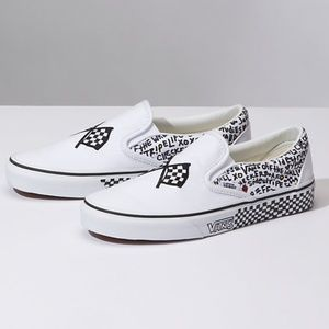 VANS Classic Slip On DIY Black White W AUTHENTIC